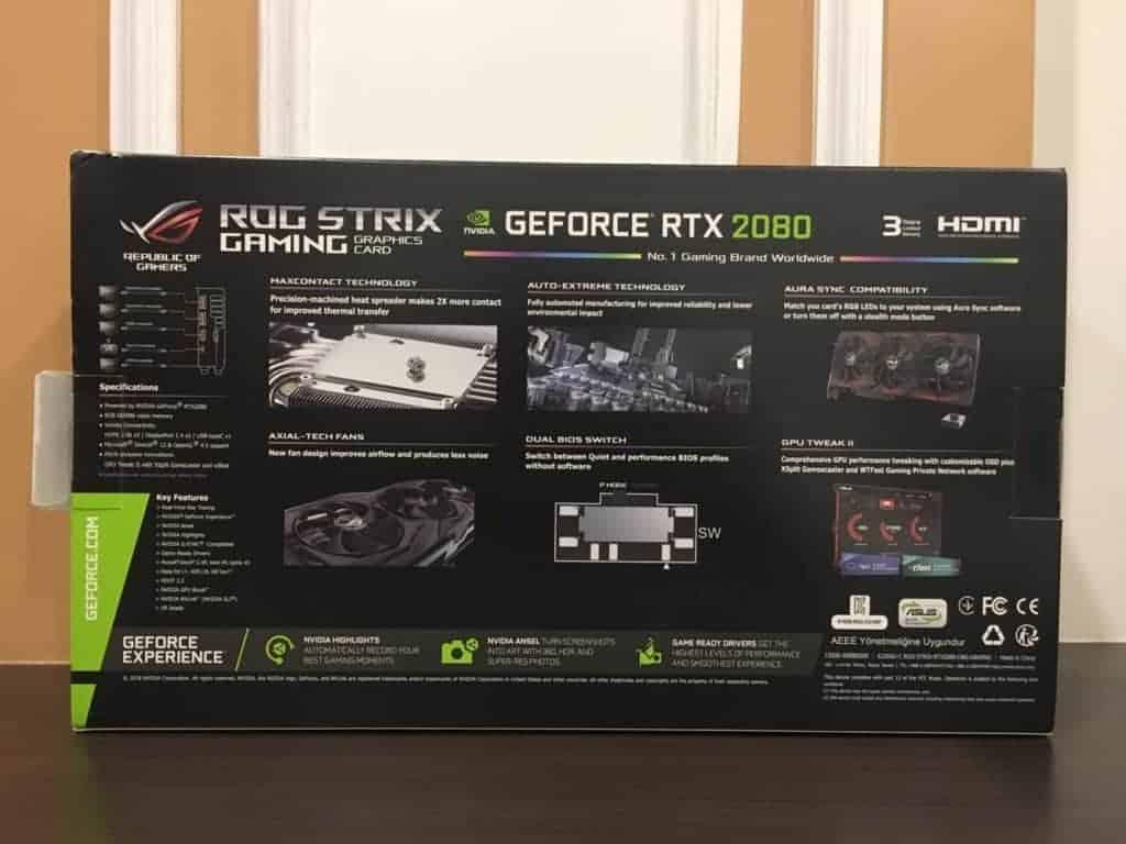 การ์ดจอ Asus RTX ROG Strix 2080 o8g ด้านหลัง